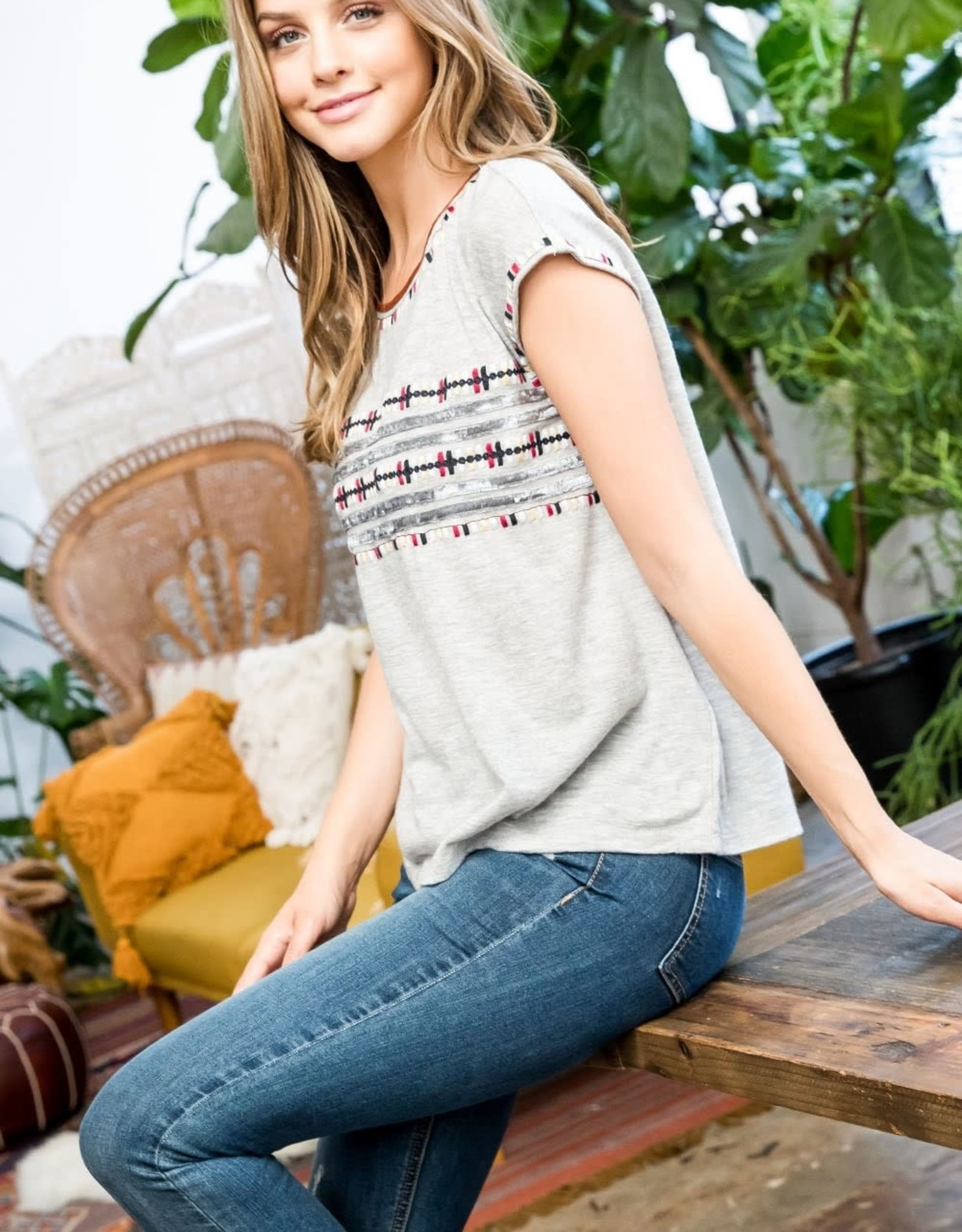 THML Embroidered Sweater Tee