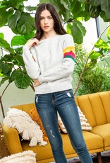 THML Stripe Sleeve Raglan Sweater