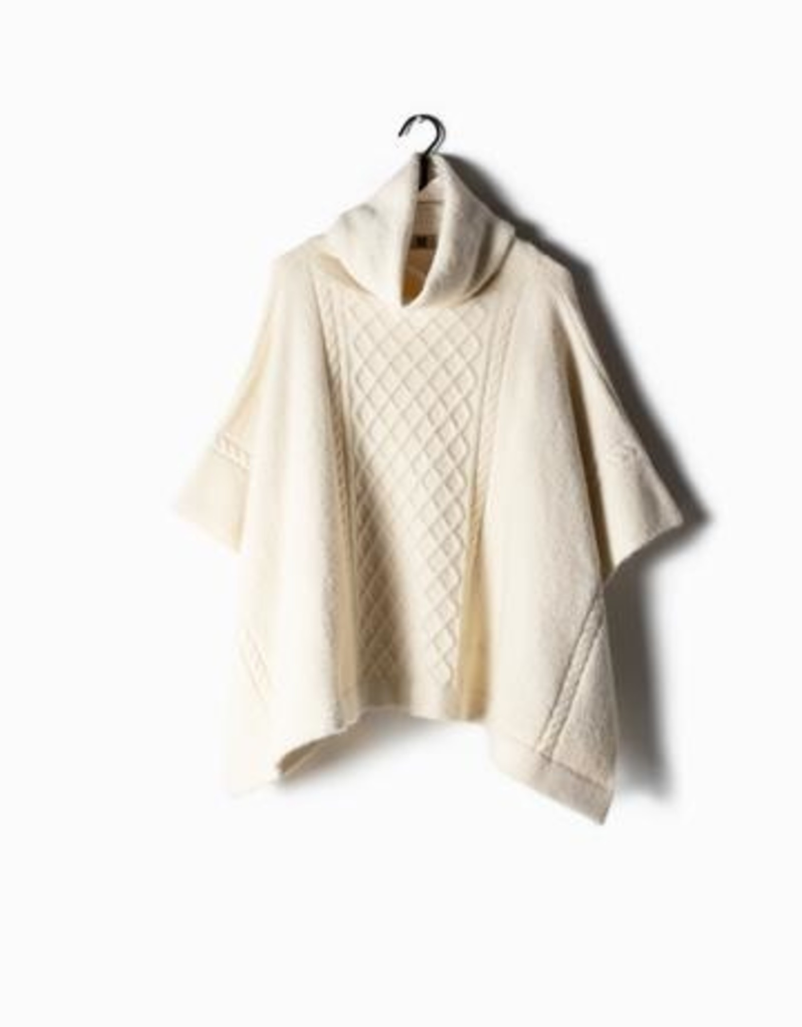Look by M Cable Knit Turtle Neck Poncho