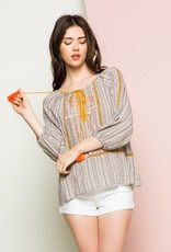 THML Embroidered  Peasant Sleeve Top