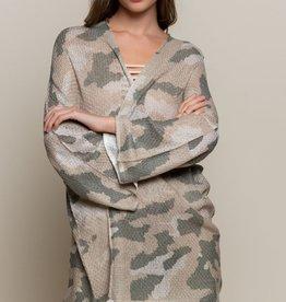 POL Clothing Lightweight Camo Cardigan Sweater