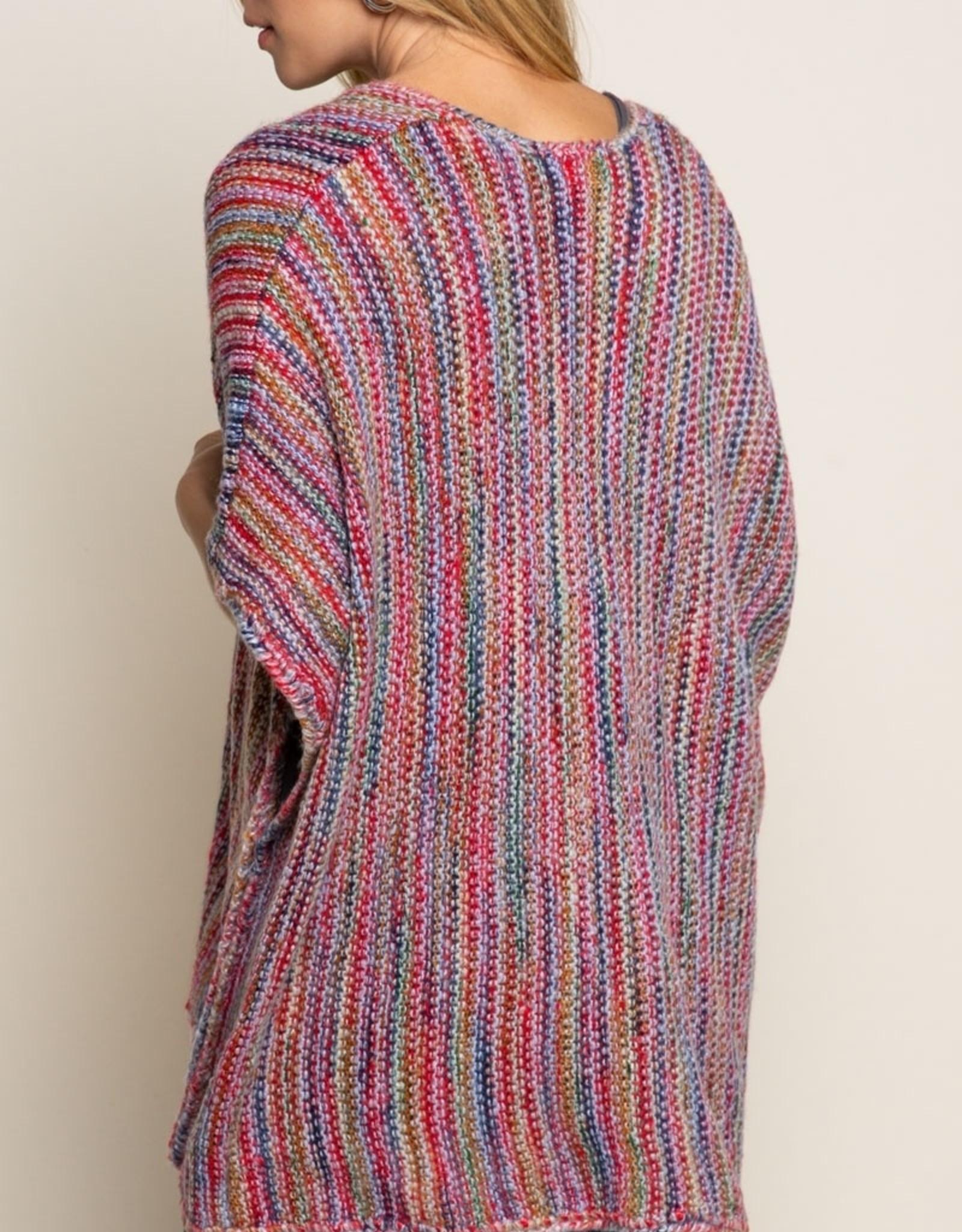 POL Clothing Rainbow Kimono Sweater