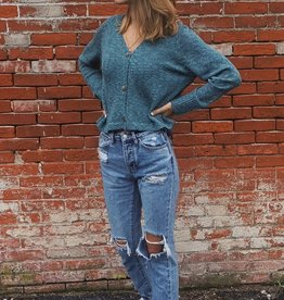 Wind River Cropped Teal Vneck Cardigan