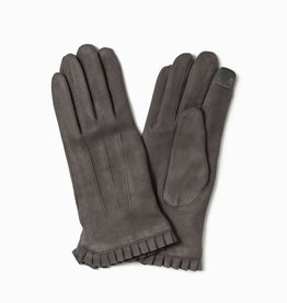 Look by M Faux Suede Wrist Ruffle Gloves