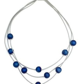 Sea Lilly Piano Wire and Blue Geode Layer Necklace