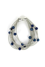 Sea Lilly Piano Wire Bracelet with Blue Geodes