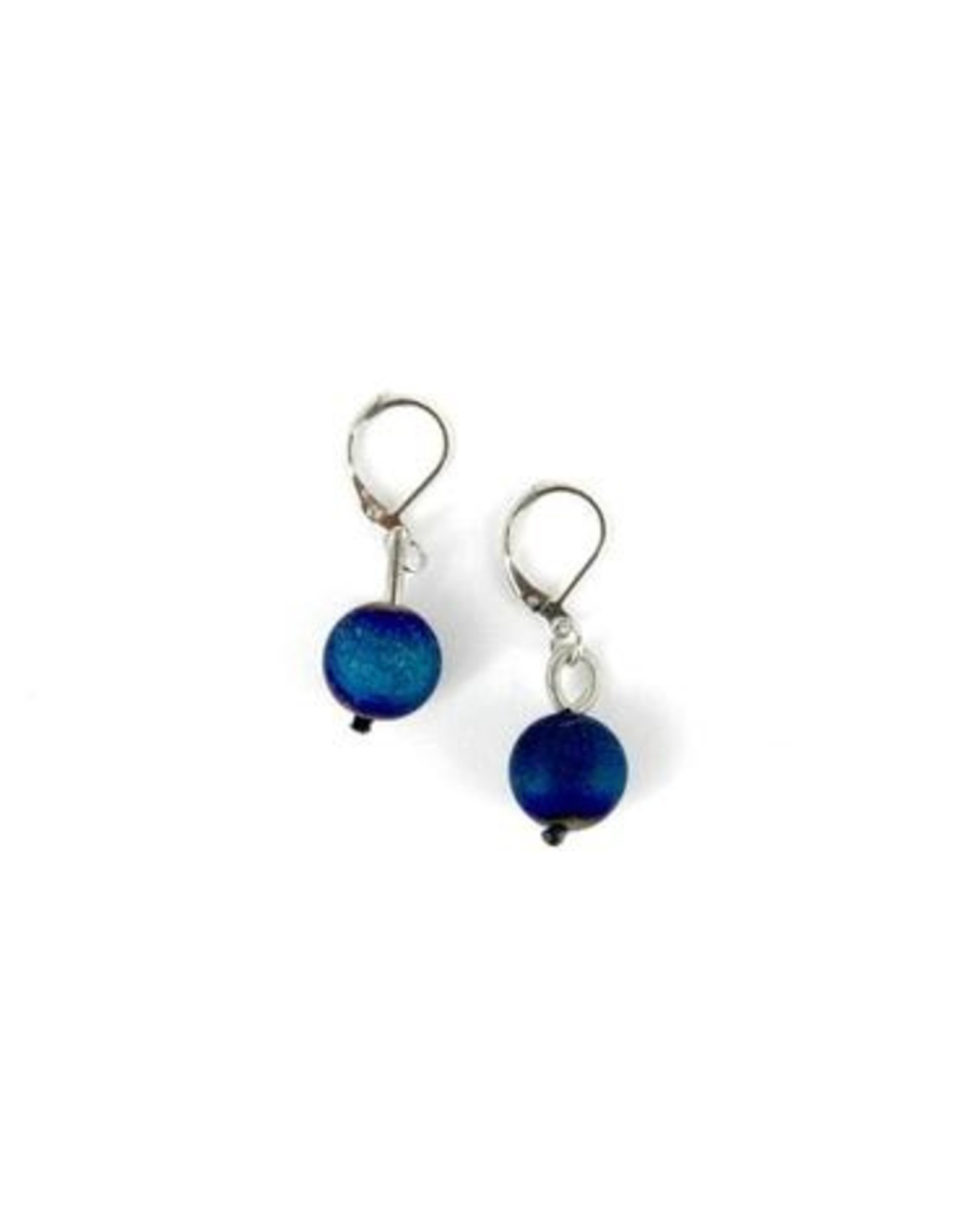 Sea Lily Silver and Blue Geode Earring