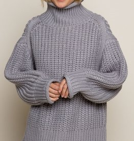 POL Clothing Chunky Sweater with Mock Neck