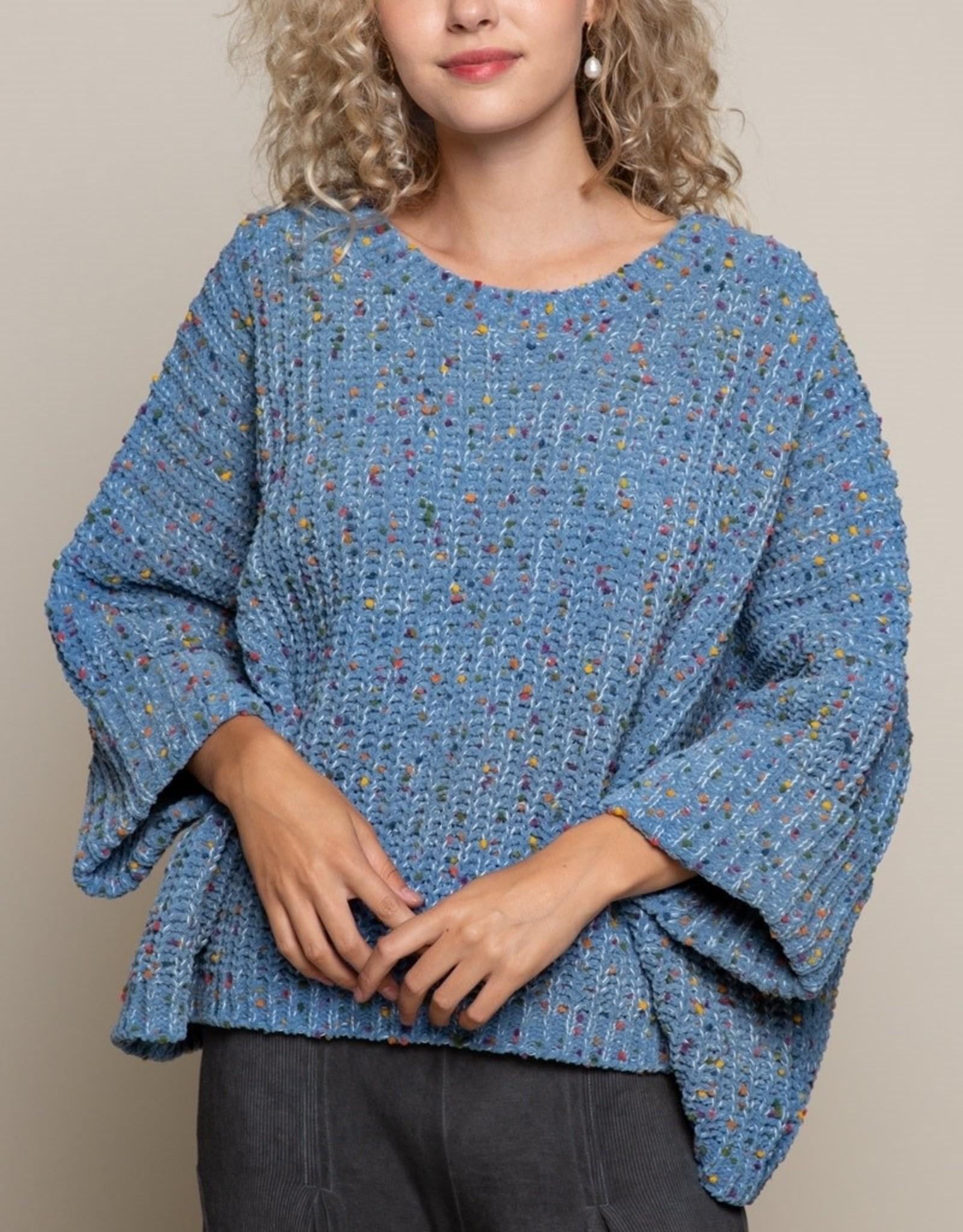 POL Clothing 3/4 Sleeve Confetti Sweater