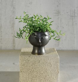 Rory Ceramic Face Vase Matte Black