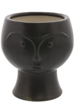 Rory Ceramic Face Vase Matte Black
