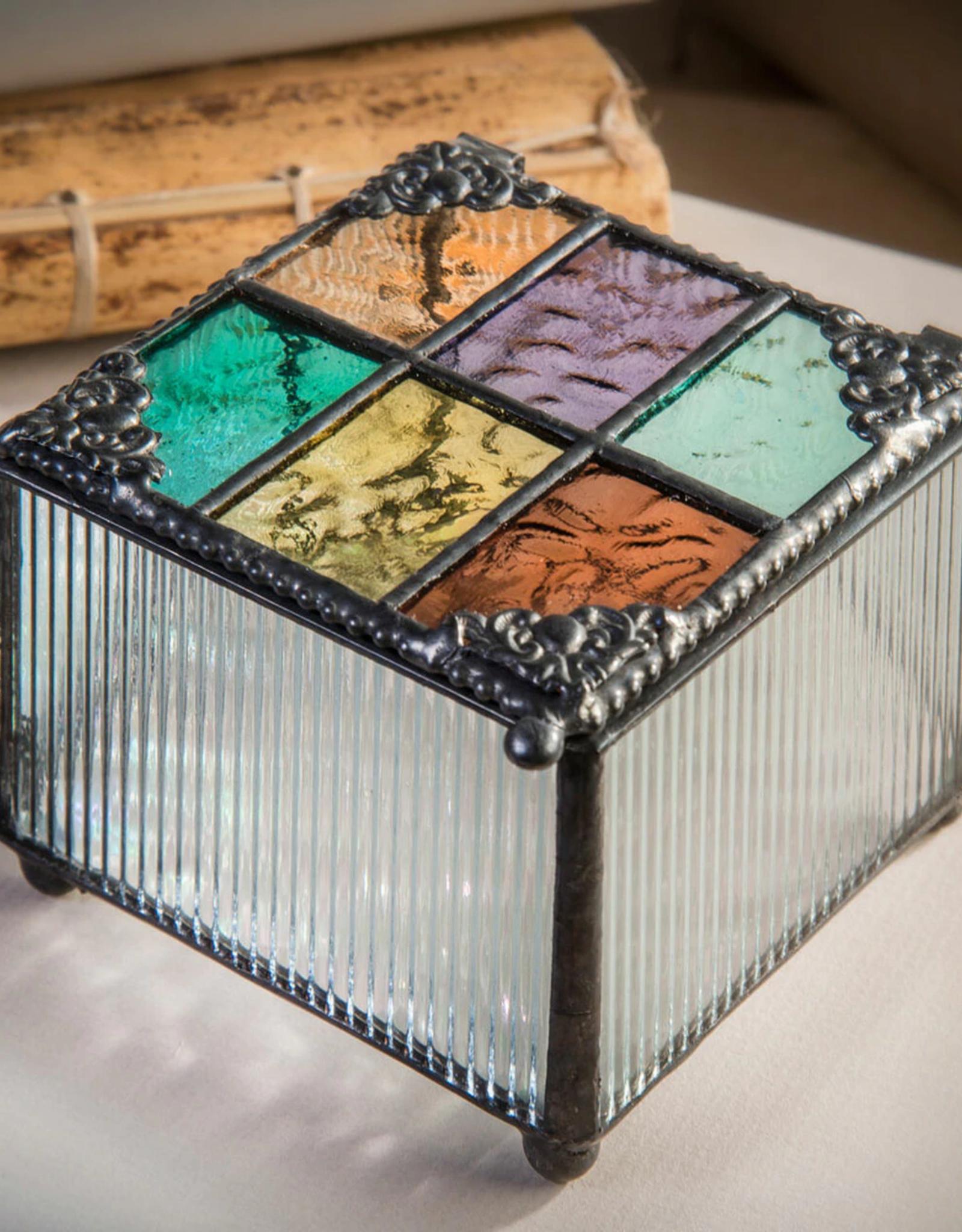 J Devlin Multi Colored English Muffle Glass Box