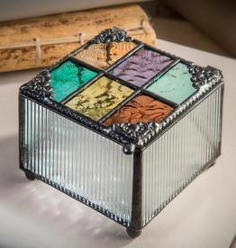 J Devlin Multi Colored English Muffle Glass Box