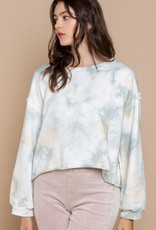 POL Clothing French Terry Cropped Dip Dye Top