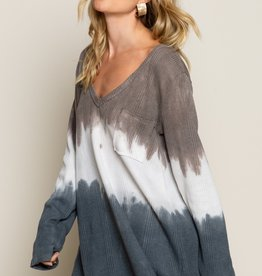 POL Clothing Tie Dye Pocket V Neck