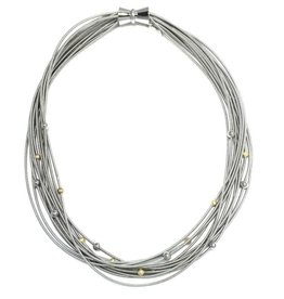 Sea Lily Silver Piano Wire Necklace  with Silver and Gold Beads