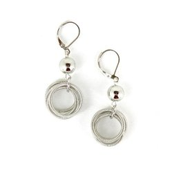 Sea Lily Silver Loop Earrings with Silver Bead