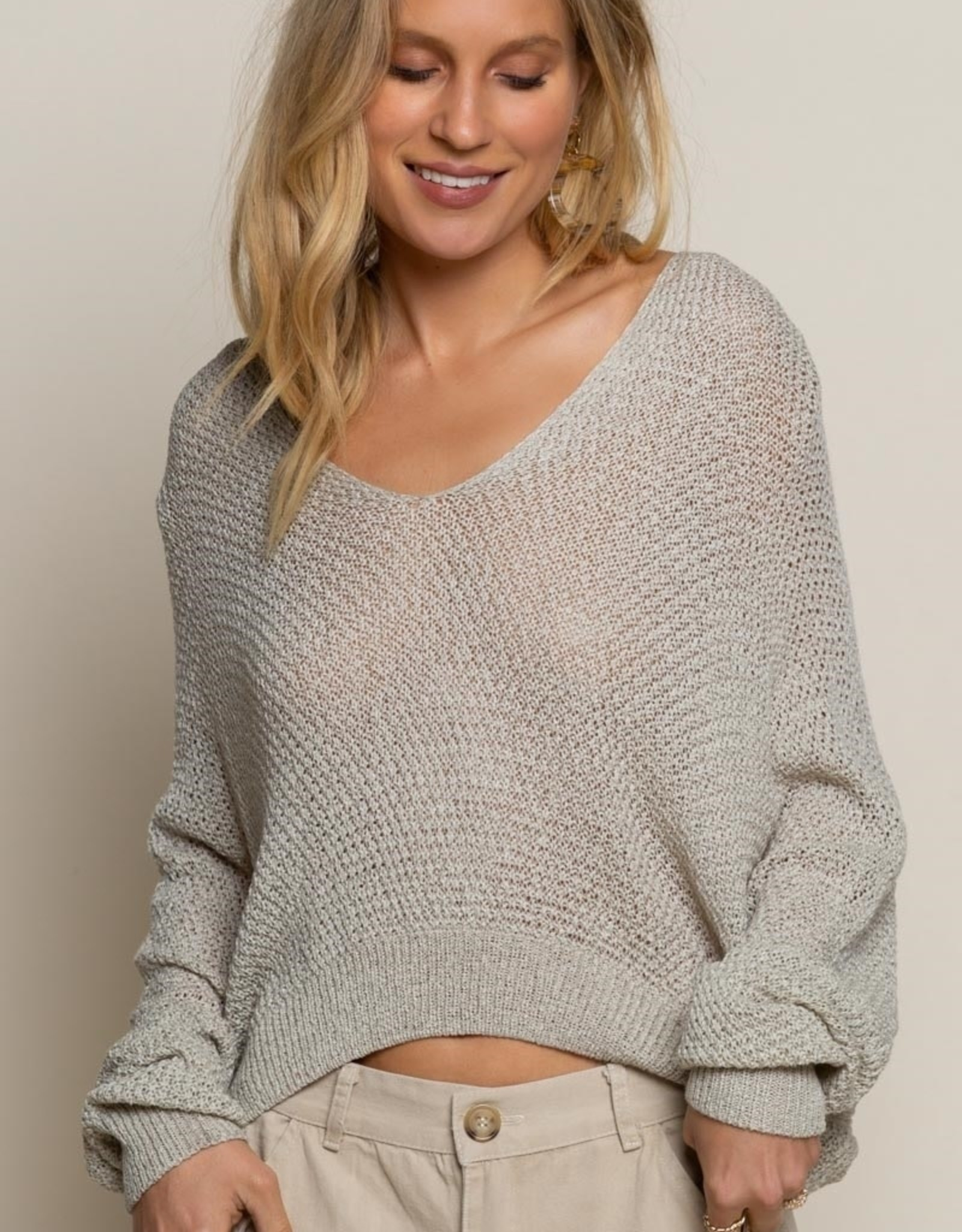 POL Clothing Lightweight Cropped Sweater