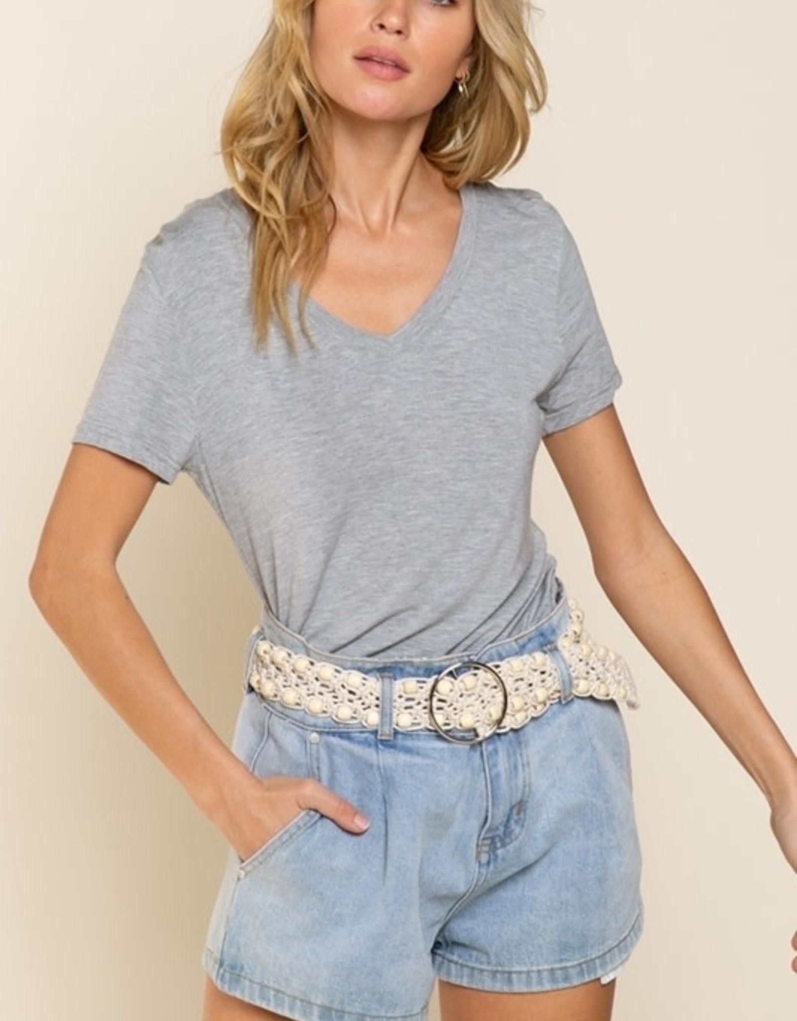 POL Clothing Classic Knit V Neck Top