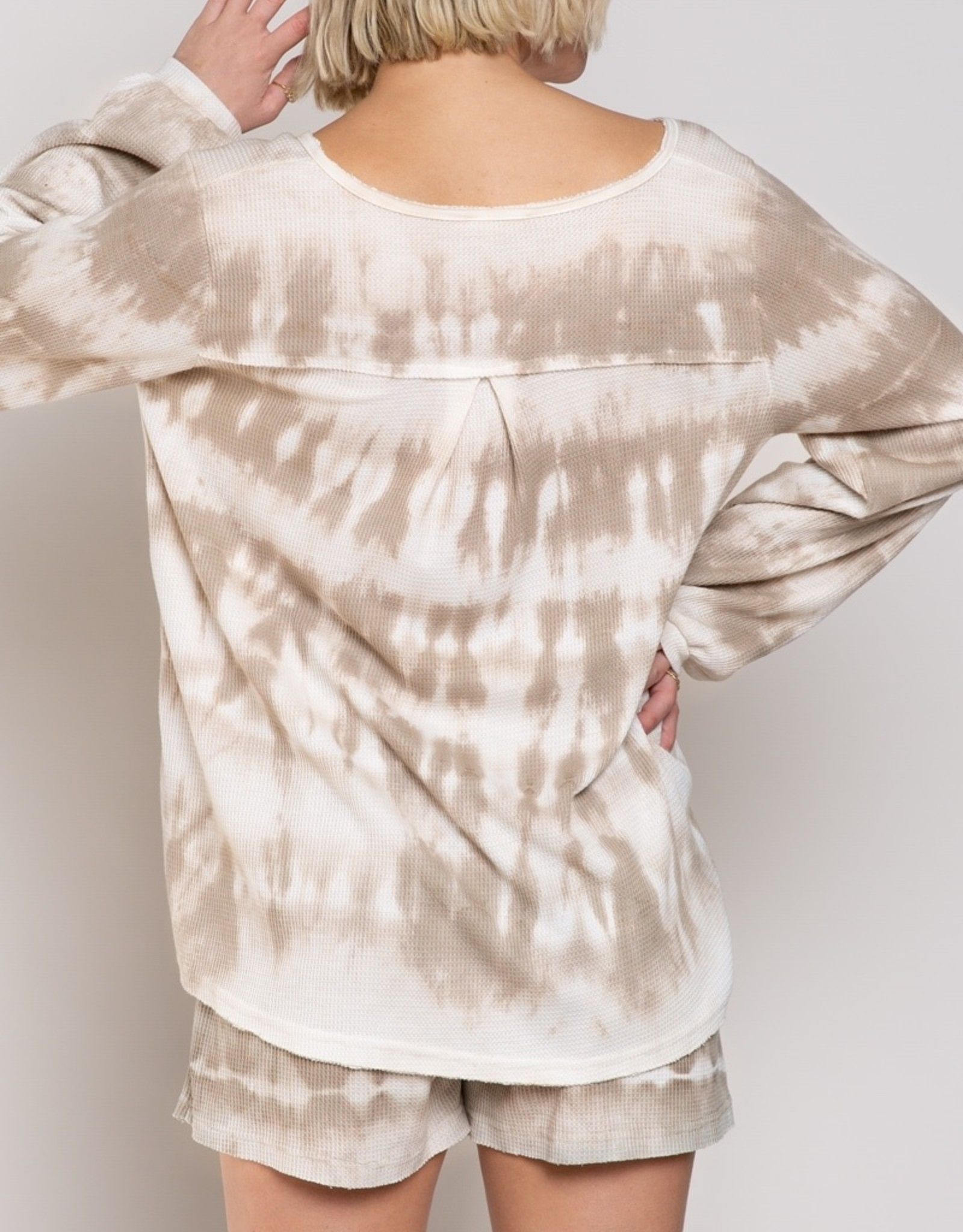 POL Clothing Thermal Knit Tie Dye Top