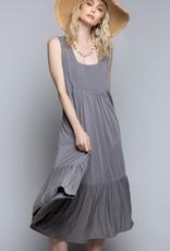 POL Clothing Tiered Soft Midi Dress