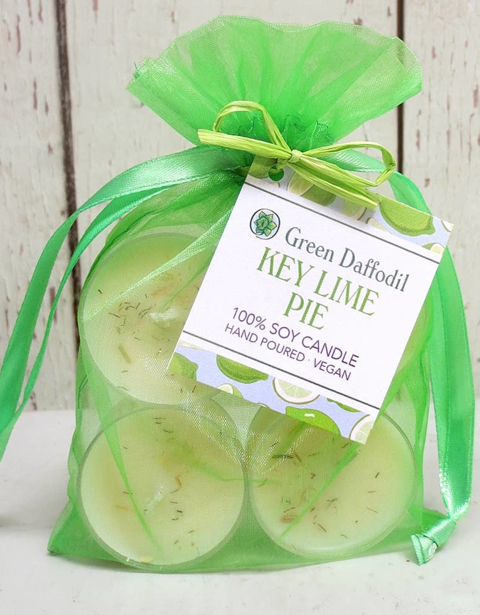 Green Daffodil Bath and Body Soy and Herb Tea Lights