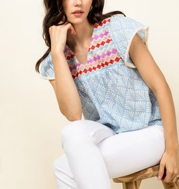 THML V Neck Patterned Top
