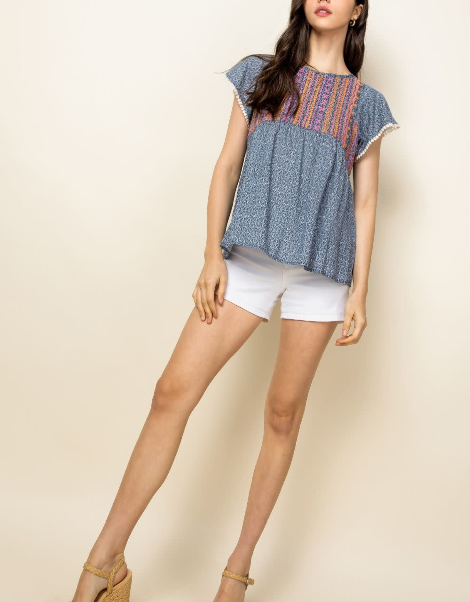THML Embroidered Flutter Sleeve Top