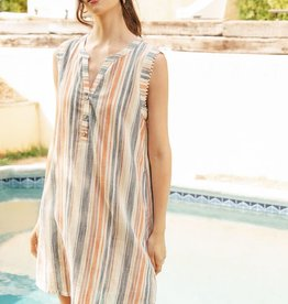 THML Striped Sleeveless Shirt Dress