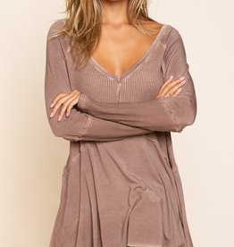 POL Clothing Ribbed Sleeved Top