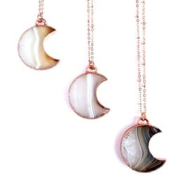 Merging Metals Crystalline Agate Moon Necklace
