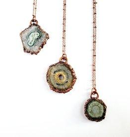 Merging Metals Quartz Stalactite Flower Slice Necklace