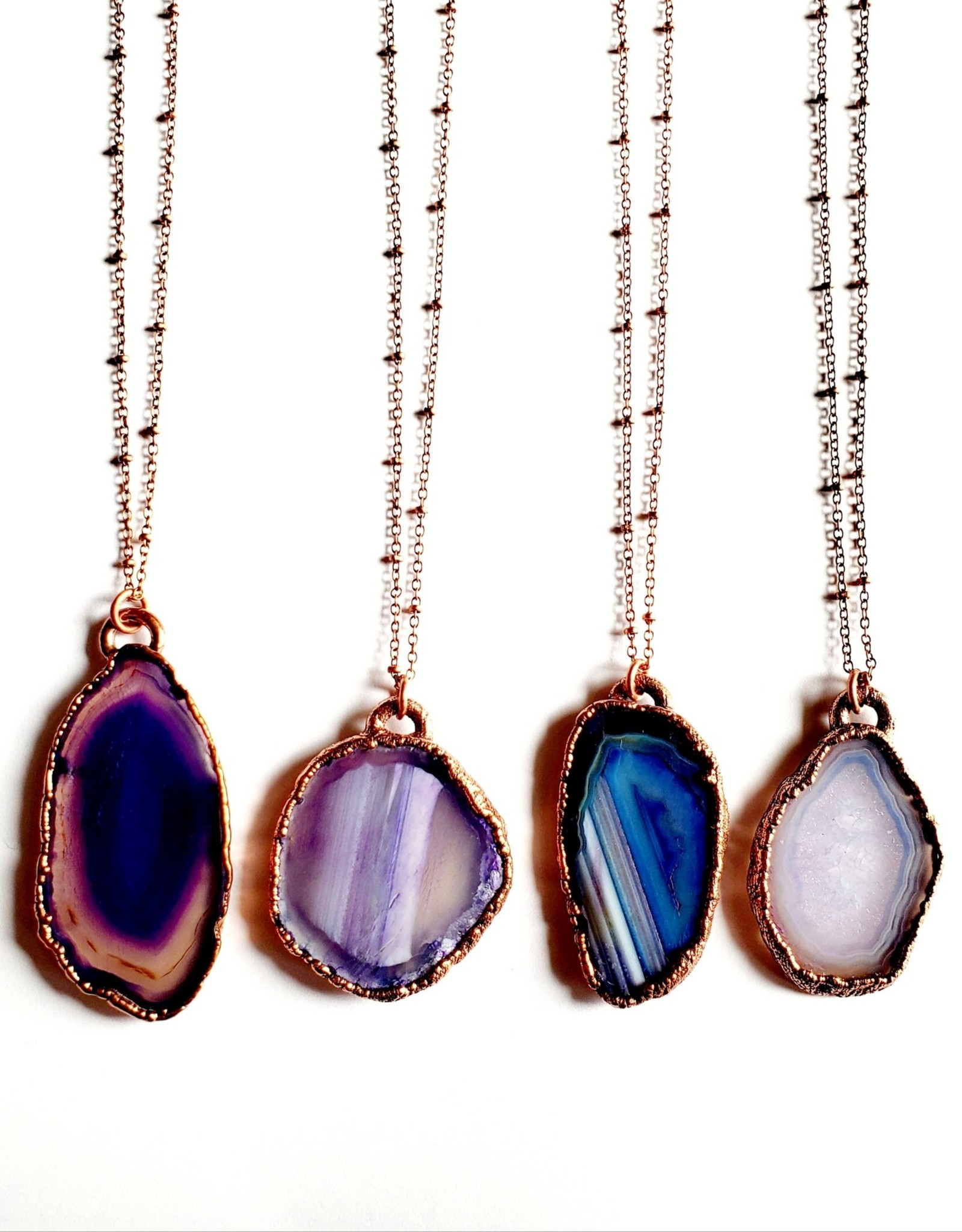 Merging Metals Purple Lavender Agate Necklace