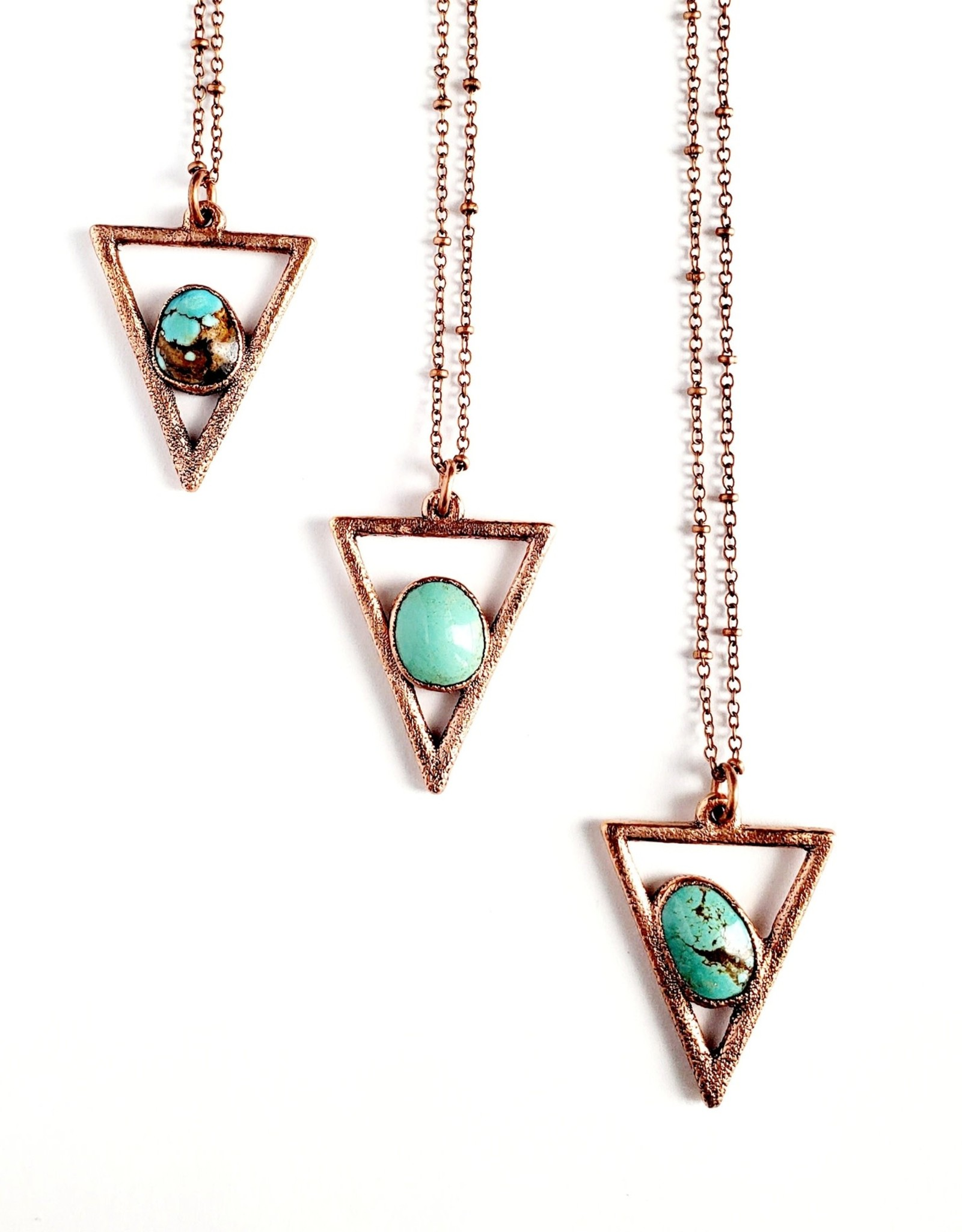 Merging Metals  Crescent Valley Turquoise Triangle Necklace