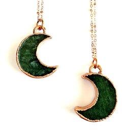 Merging Metals Avanturine Crescent Moon Necklace