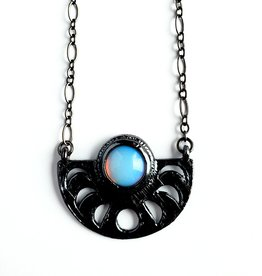 Merging Metals Opalite Moonphase Necklace
