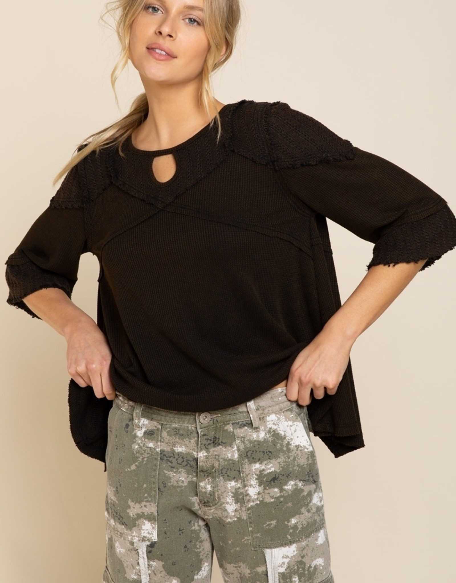 POL Clothing Waffle Knit Top