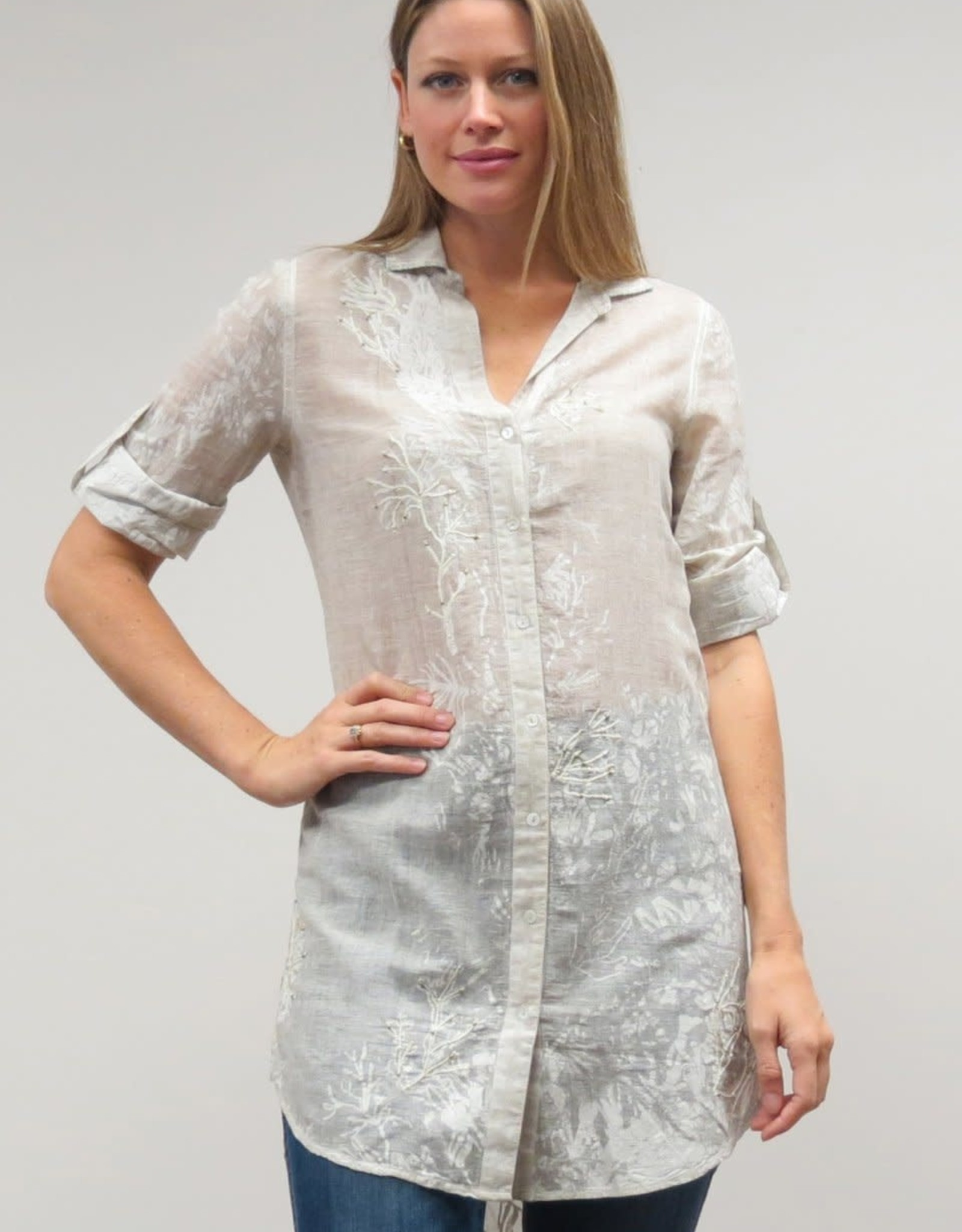 Caite Vintage Floral Tunic Shirt