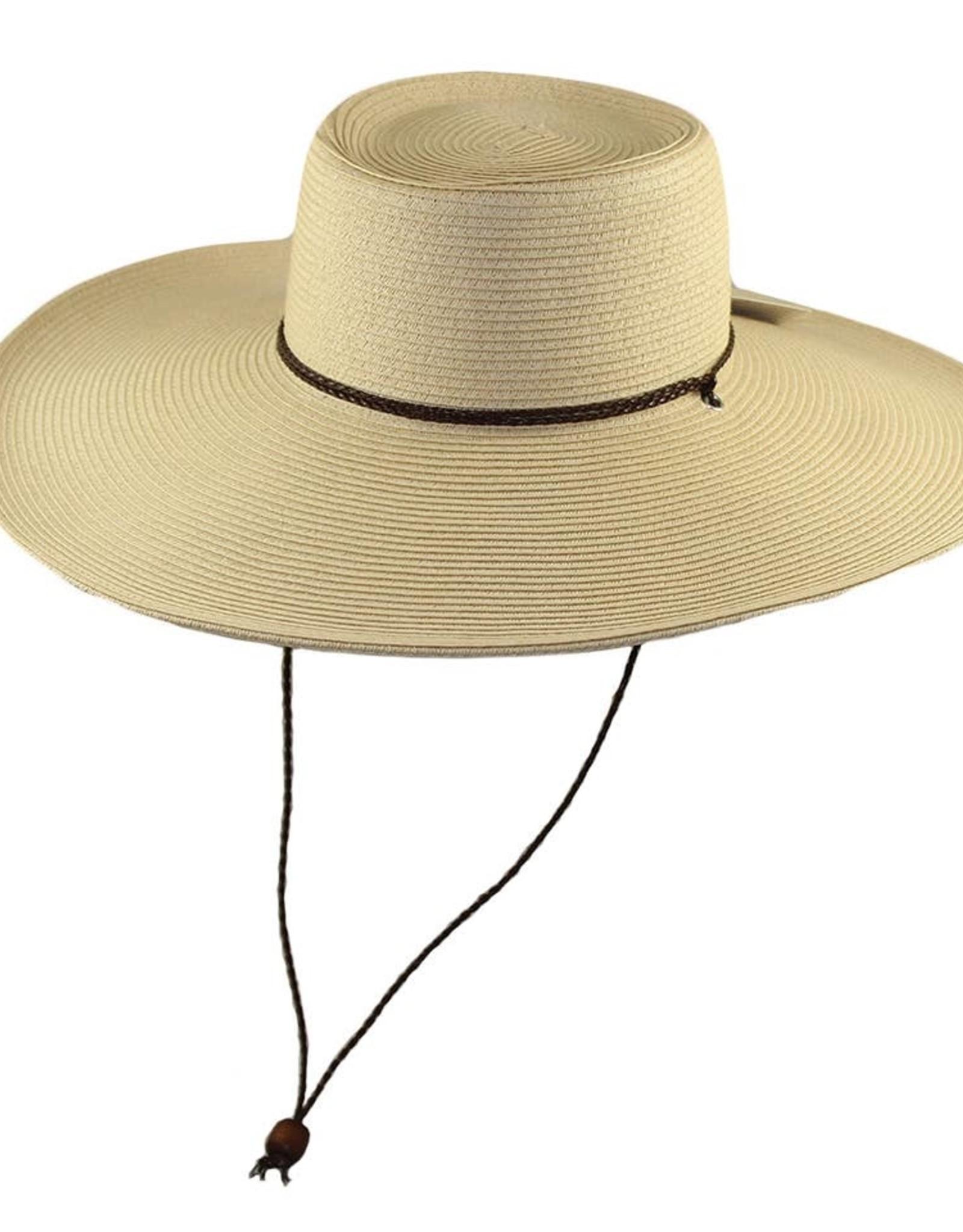 Paper Braid Large Brim Straw Hat w/ Chin Cord