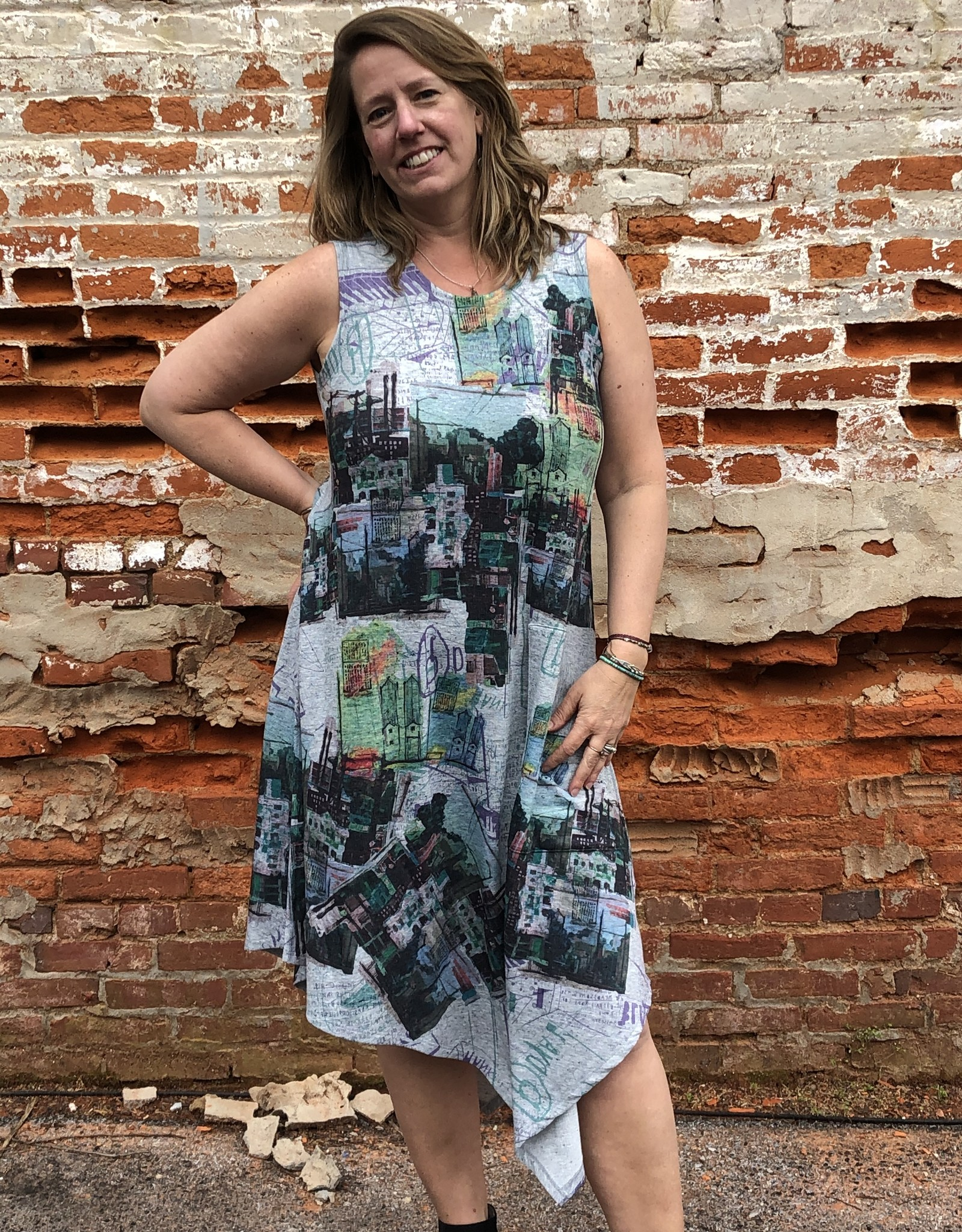 Inoah Artsy Asymmetrical  A-line Dress w Pocket