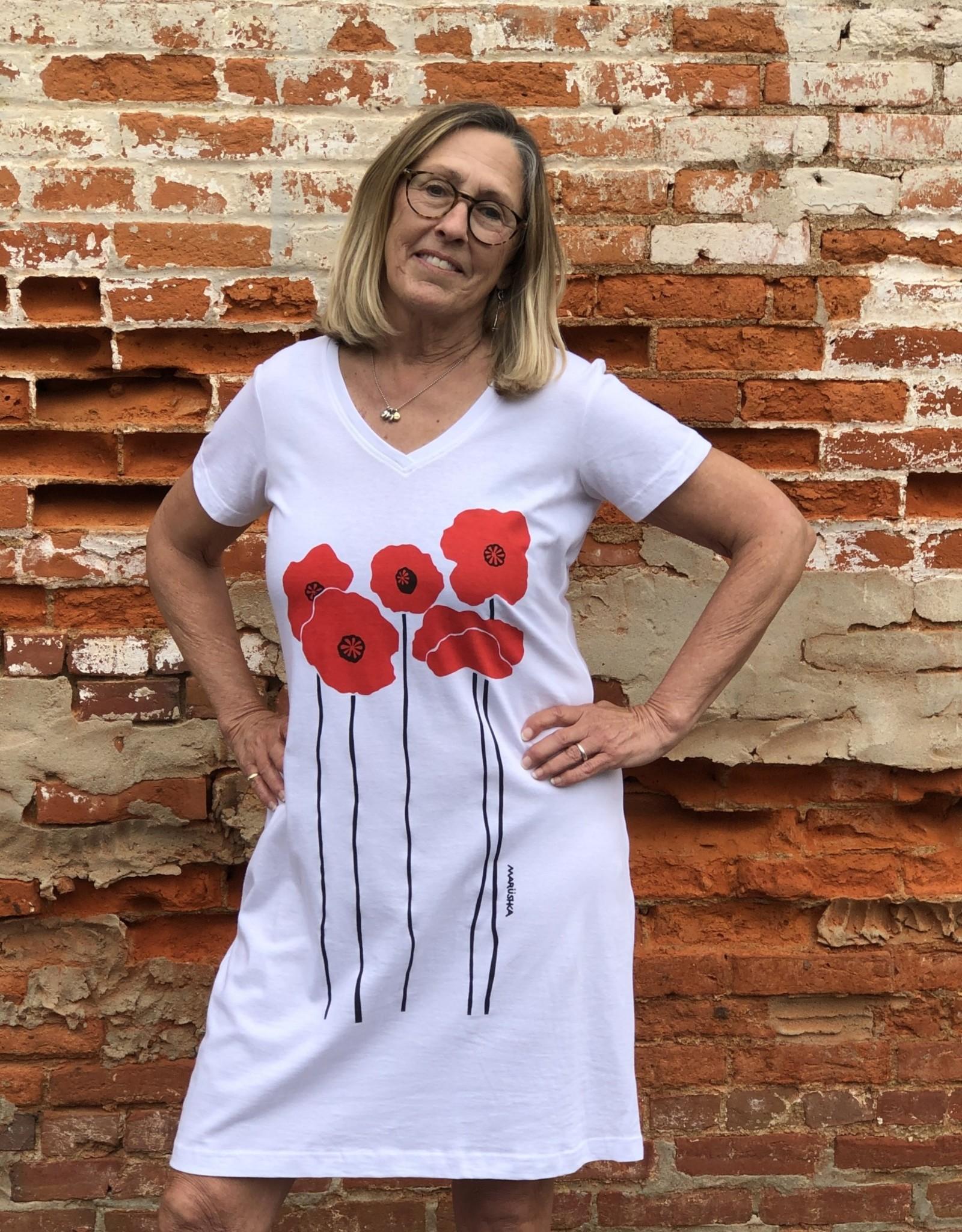 Marushka V-Neck Cotton Poppy Dress