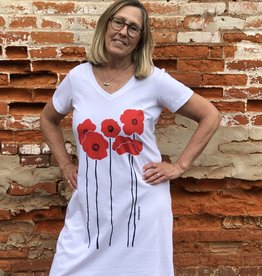 Marushka V-Neck Cotton Poppy Dress