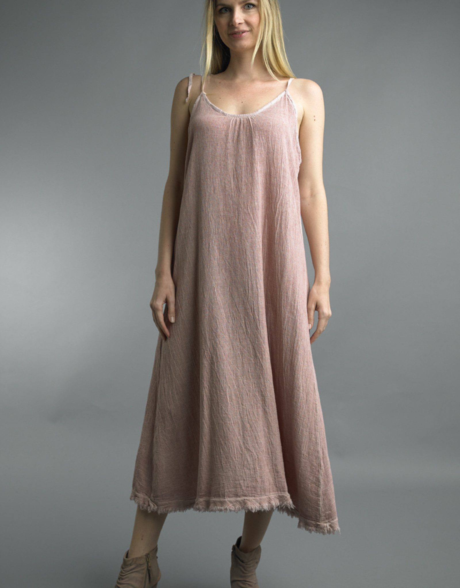 Tempo Paris Spaghetti Strap Linen Maxi Dress