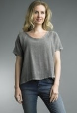 Tempo Paris Linen Weave Scoop Tee