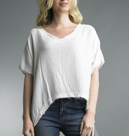 Tempo Paris Cotton Raw Edge V-Neck Tee