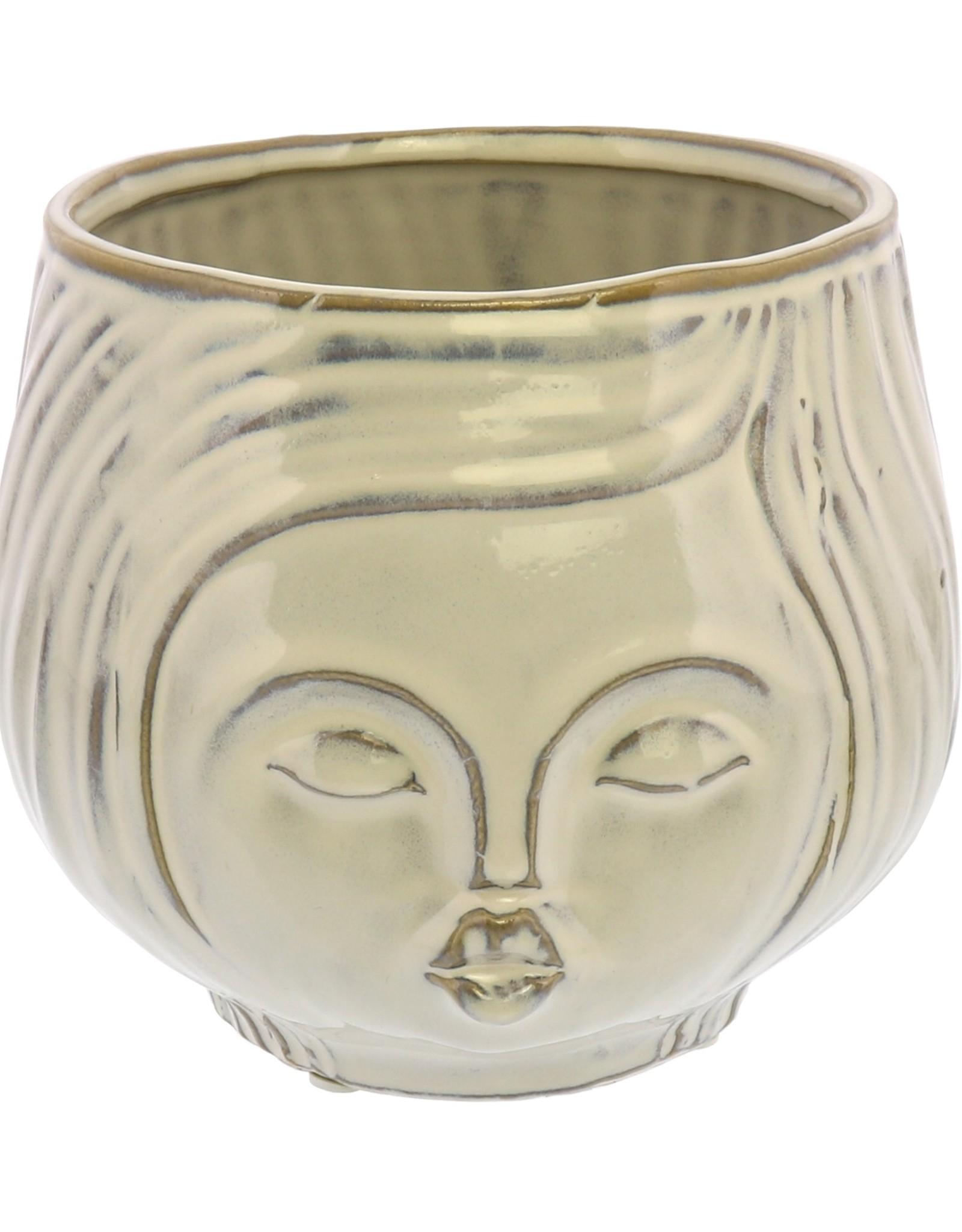 HomArt Pucker Up Ceramic in Vase Fancy White