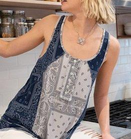 POL Clothing Paisley Knit Tank