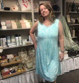 Wind River Aqua Floral Batik Cotton Dress