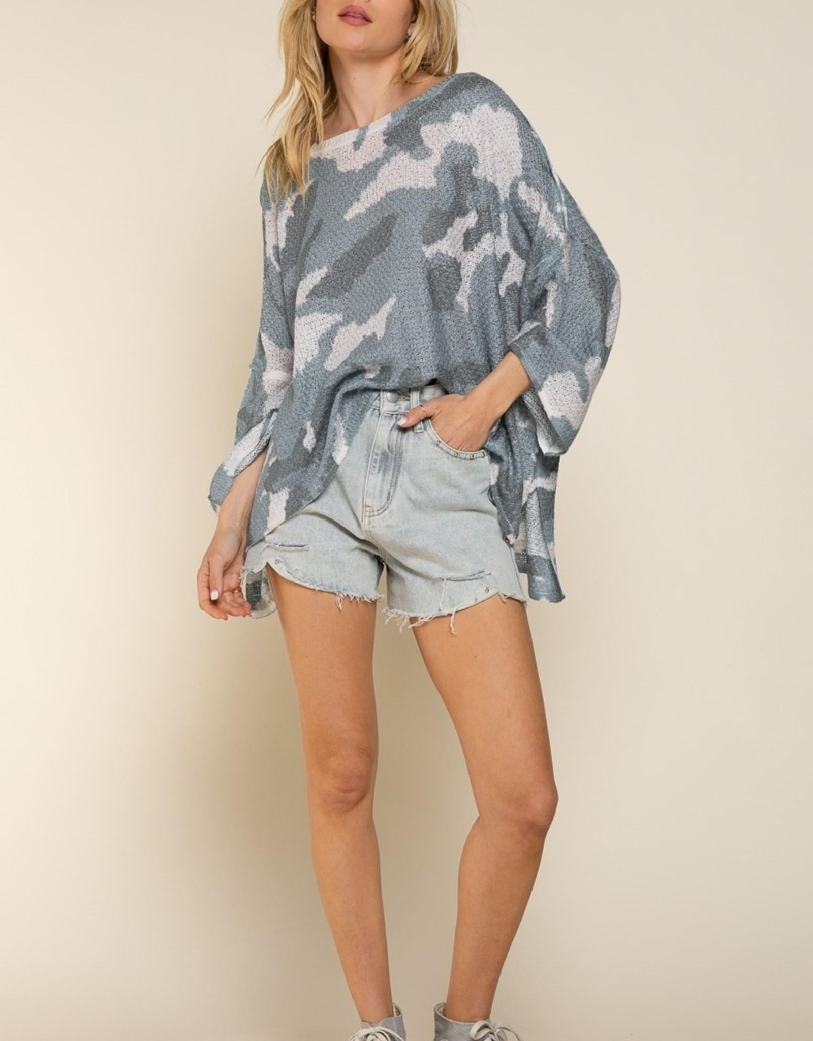 POL Clothing Lightweight Camo Sweater