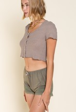 POL Clothing Waffle Button Crop Top